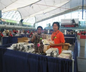 me and mike in the sails pavilion at comic con