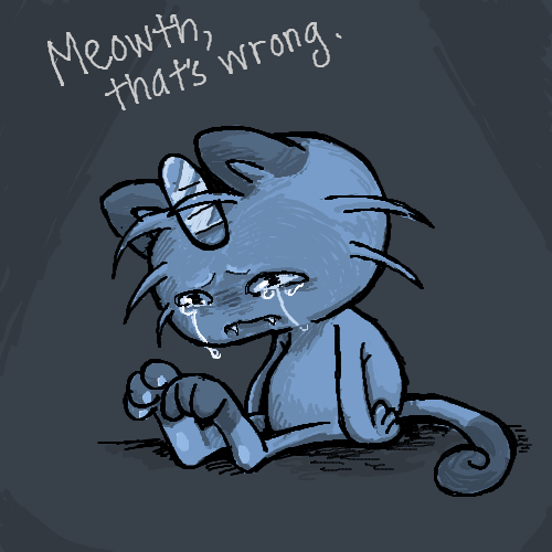 blue sad meowth pokemon