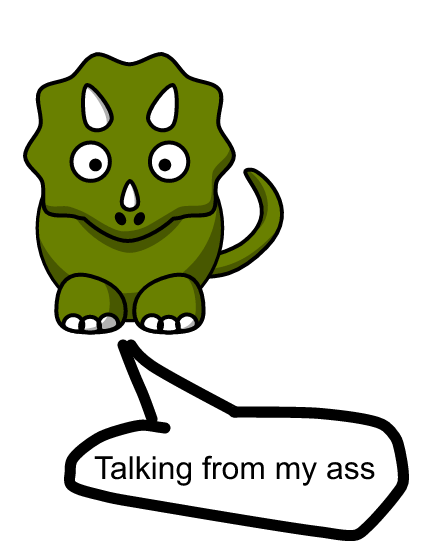 triceratops with a word balloon coming from its butt