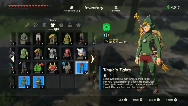 zelda item equip screen