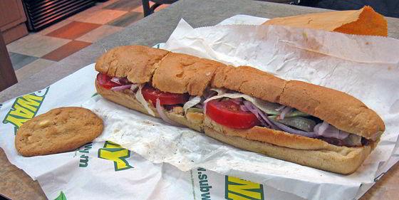 subway sandwich in wrapper