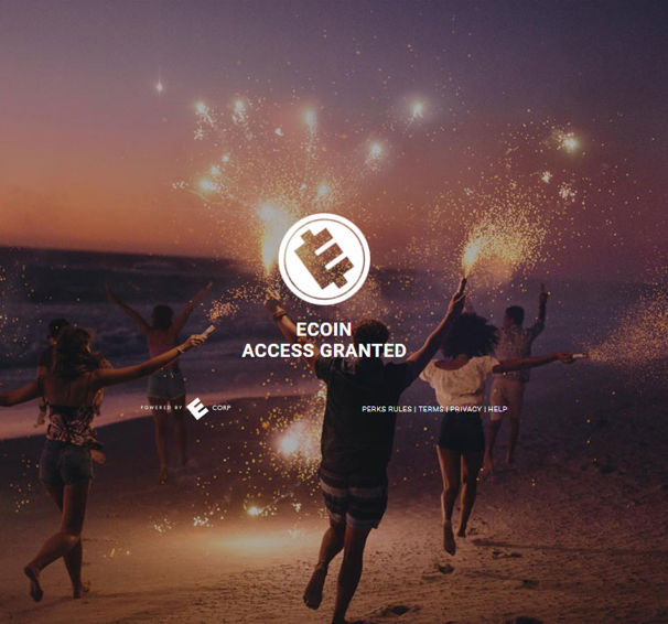 ecoin logo superimposed over some stock image of people playing wiht fireworks