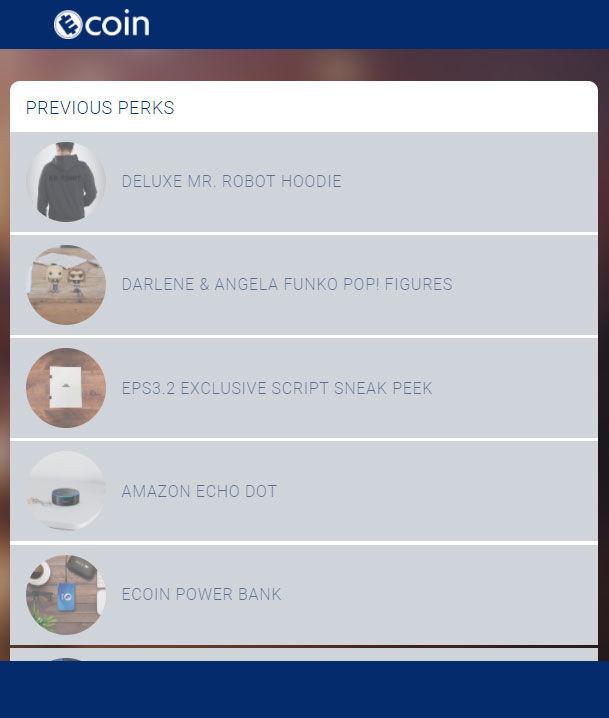 listing of past ecoin perks giveaways: hoody, echo dot, season 3 script files, a power bank, funko pop figures
