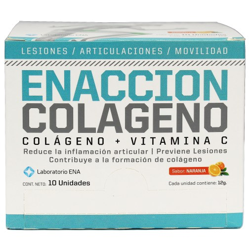 Enaccion Colageno ENA SPORT (240/10x12 Grs) - 10 Sobres x 12 Grs, Naranja