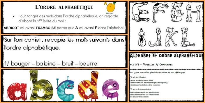 Alphabet et ordre alphabétique – CE1