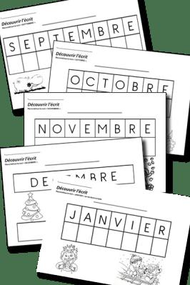 découvrir l'écrit MS mois de l'année