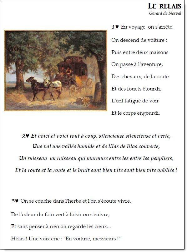 Poème et chant – Le relais – Gérard de Nerval
