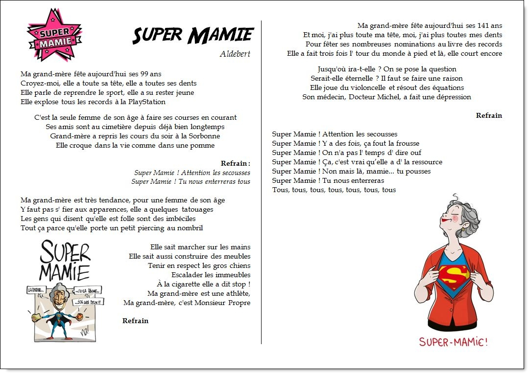 Chant – Super Mamie – Aldebert