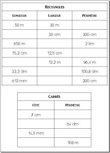 P rim tre carr s et rectangles cm1 cm2 la ma tresse a des yeux dans le dos - Calcul de metre carre ...