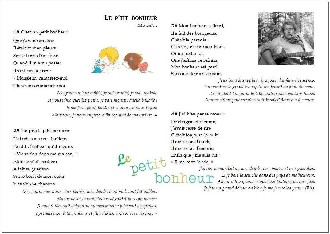 Chant – Le p'tit bonheur – Félix Leclerc