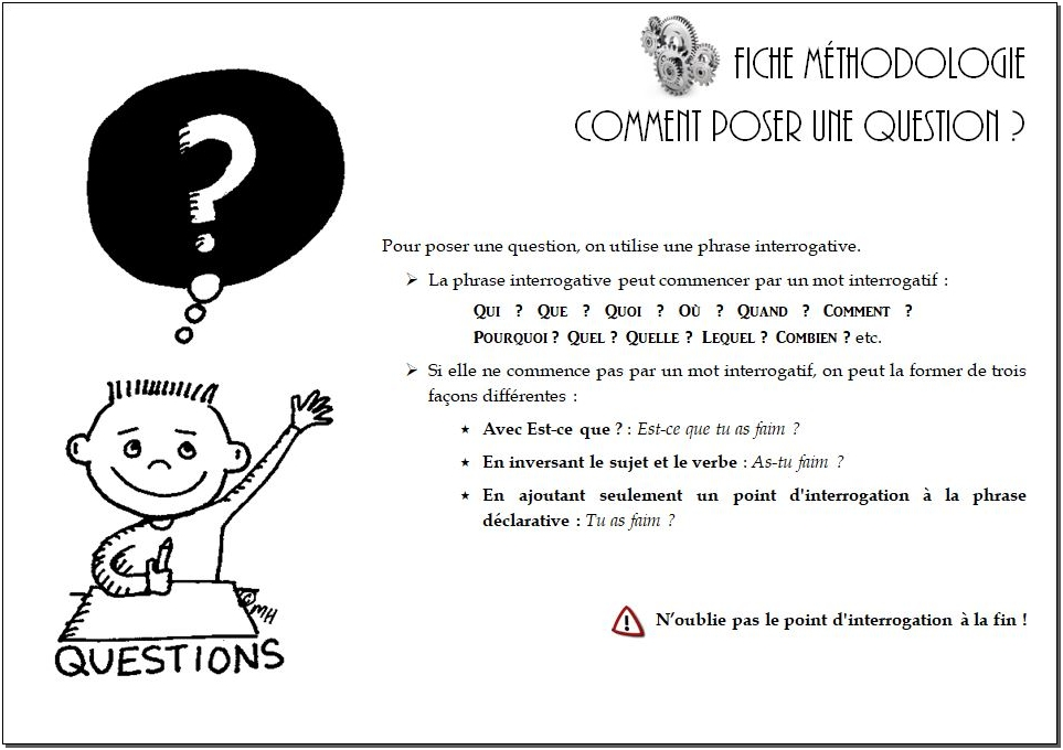 Poser une question –  CM1/CM2