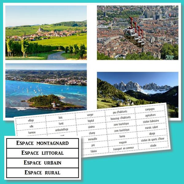 Des espaces pour vivre : espace rural, espace urbain, espace littoral, espace montagnard - CM1/CM2