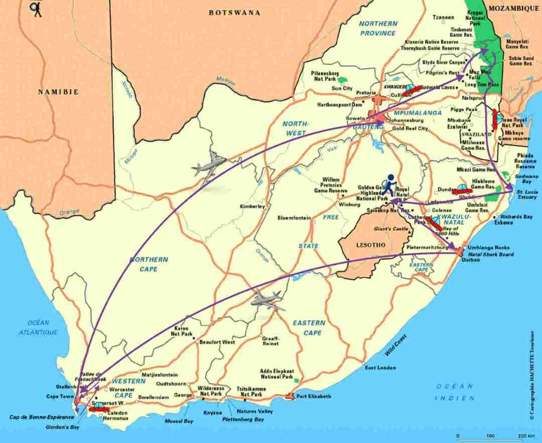Carte Afrique du Sud - itinéraire 3 semaines