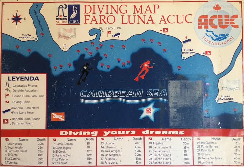 Plongée à Cuba - Carte des plongées du centre Faro Luna - Rancho luna - Cuba