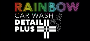 Rainbow Carwash Detail Plus logo white on black