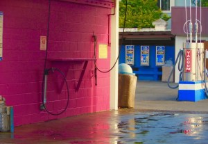 Pink carwash bay and vacuum center at Rainbow Carwash Detail Plus in Sunnyvale, Ca.
