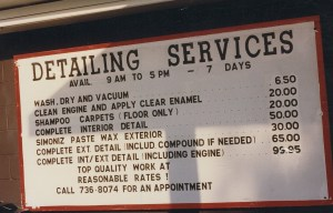 Old photo of detailing services and pricing at Rainbow Carwash Detail Plus in Sunnyvale, California
