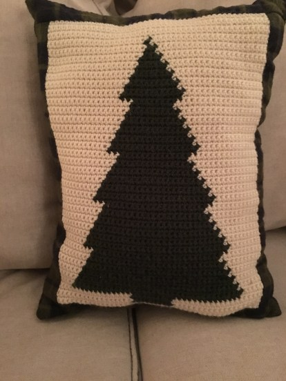 crocheted tree pillow