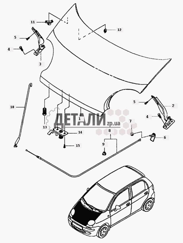 Капот, крылья, облицовка радиатора на Daewoo Matiz II