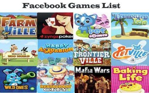 facebook games list