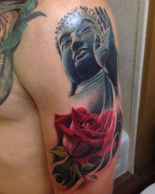If you think lotus is so common with Buddha tattoos, then how about switching to rose tattoos? Rose symbolizes love and passion even in tattoos. Combining it with Buddhism could show how you are passionate with the practice or with the thought of enlightenment.