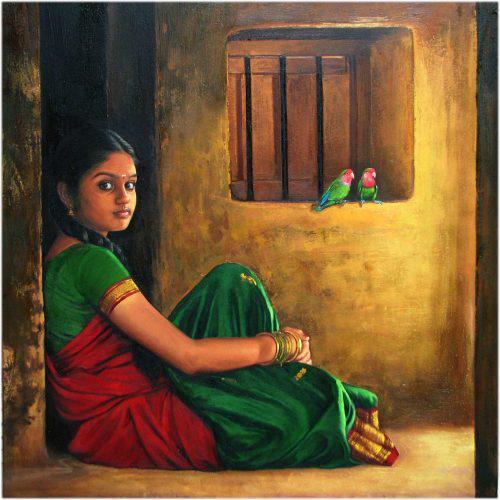 Tamil Girl with Her Parrots – S Elayaraja Art