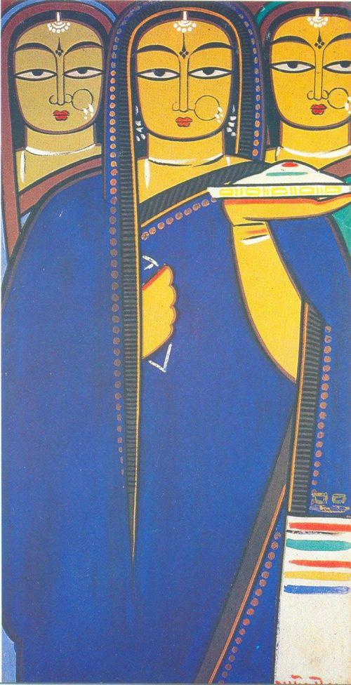 Three Pujarins – Jamini Roy Art