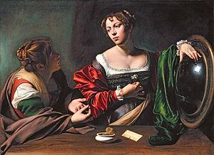Martha og Marie Magdalene malleri med Carravaggio