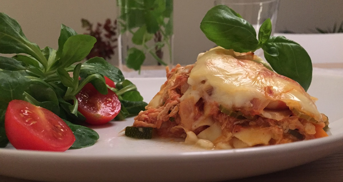 Lasagne med pulled chicken