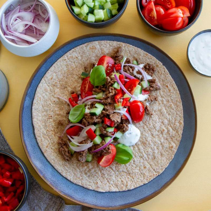 taco wraps med hvitløksdressing