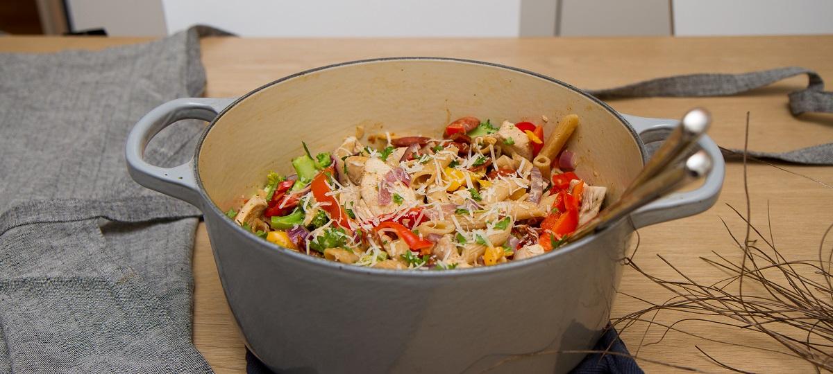 Kyllingpasta med chorizo