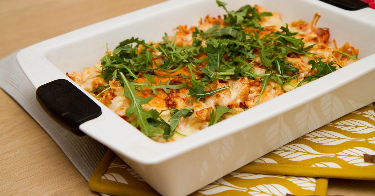 Enkel pastagrateng med kylling og chorizo