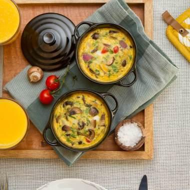 Ovnsbakt omelett med sopp og paprika