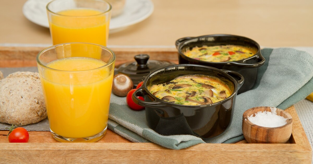 Ovnsbakt omelett med sopp, paprika og ost