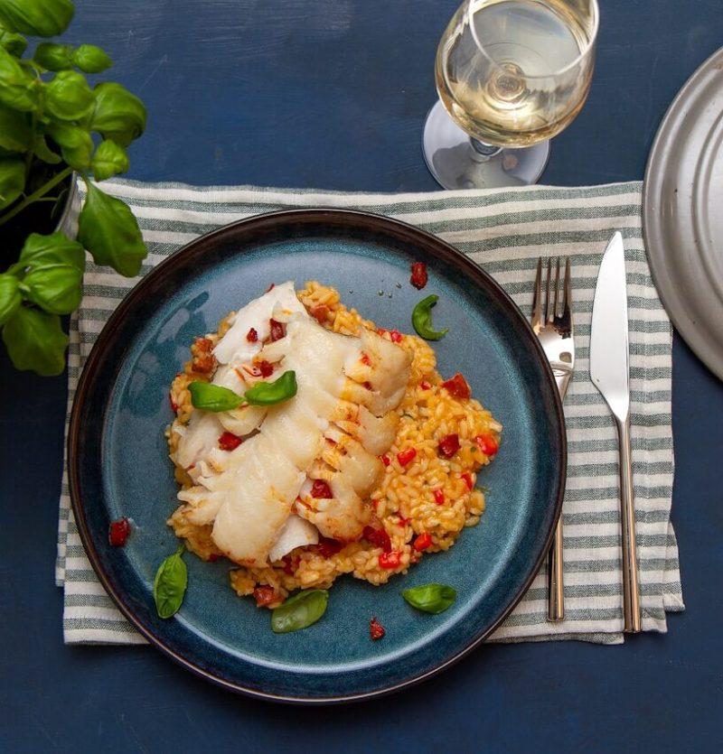 Stekt torsk med risotto
