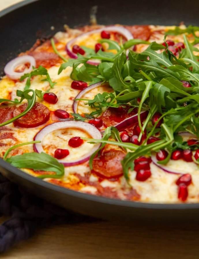 Pannepizza (juksepizza) med chorizo