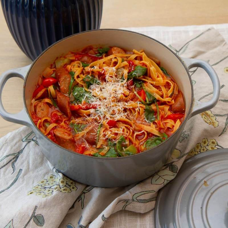 One pot pasta med chorizo