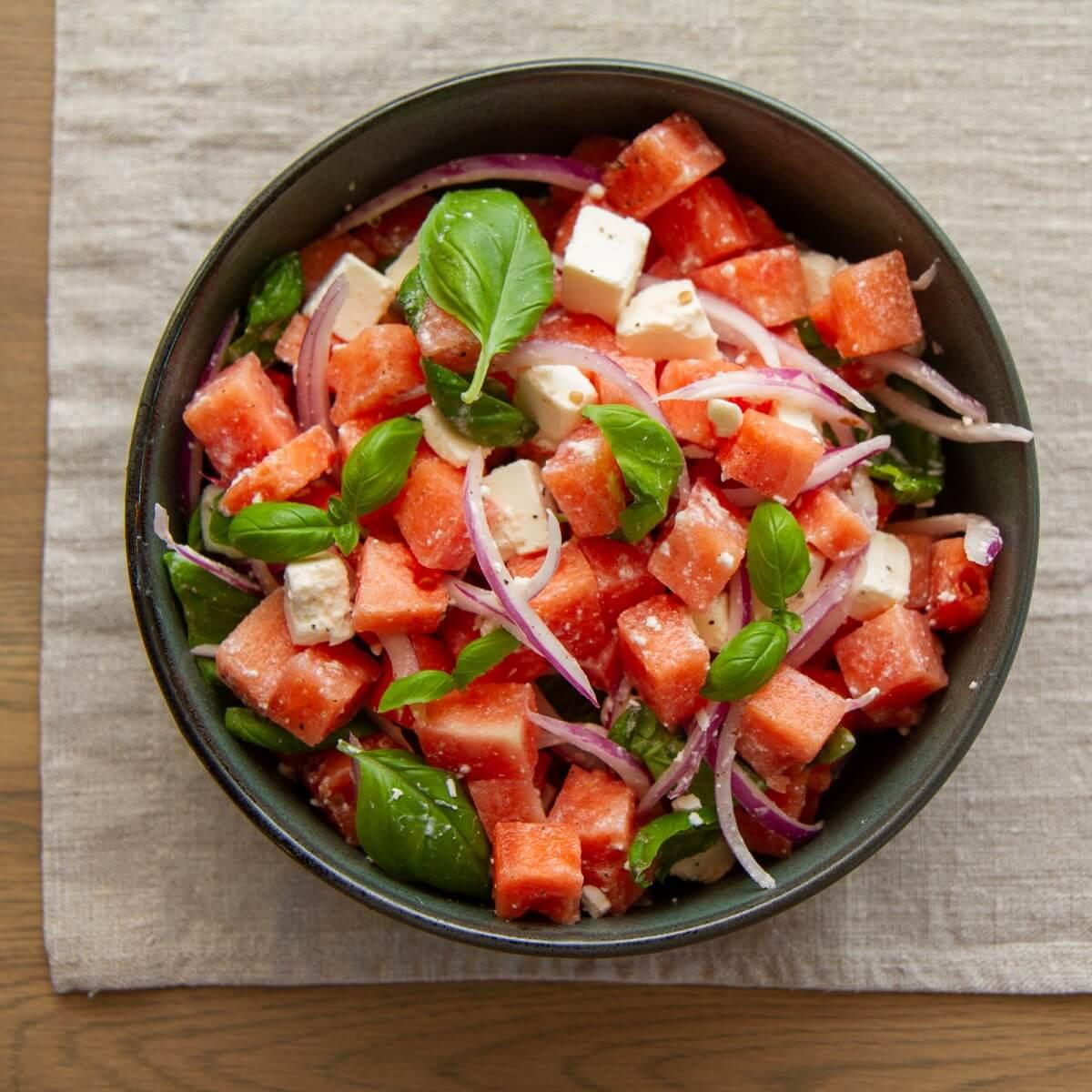 Vannmelon og fetasalat