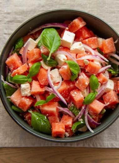 Vannmelon og fetaostsalat