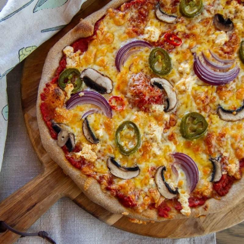 Vegetarpizza med fetaost