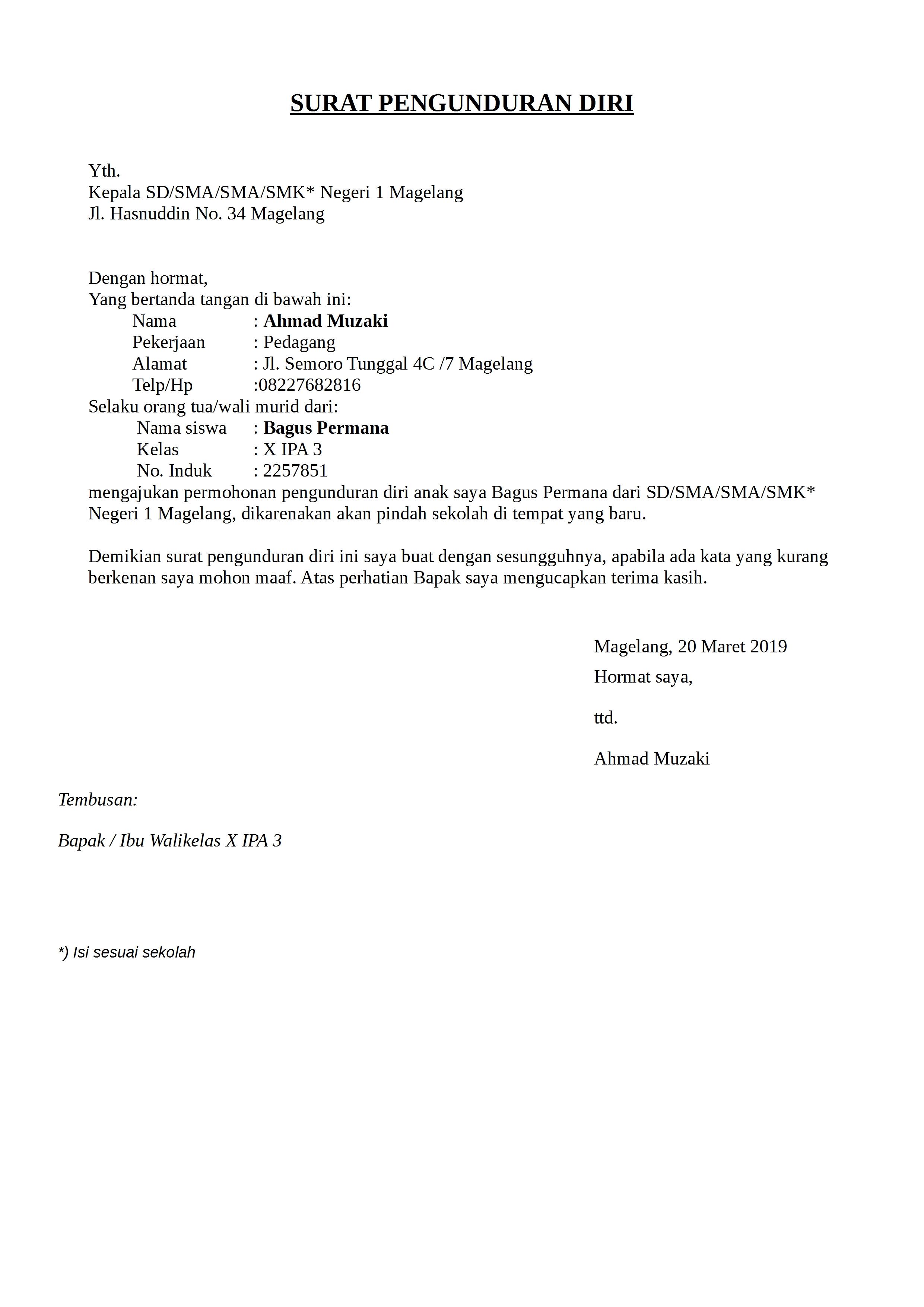 Contoh Surat Pengunduran Diri Dari Sekolah Yang Resmi Dan Benar