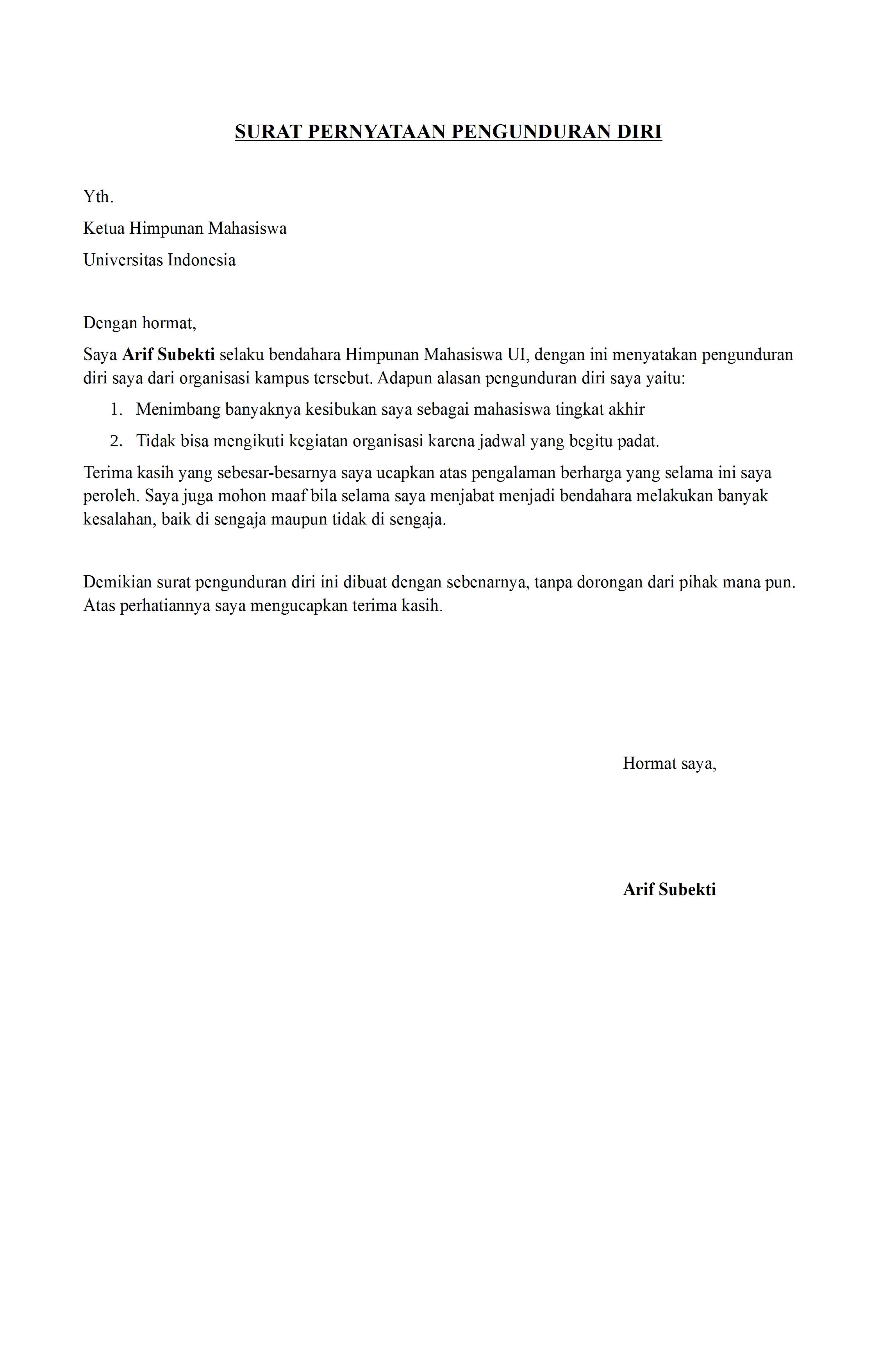 43+ Contoh surat pengunduran diri ormas terbaru terbaik
