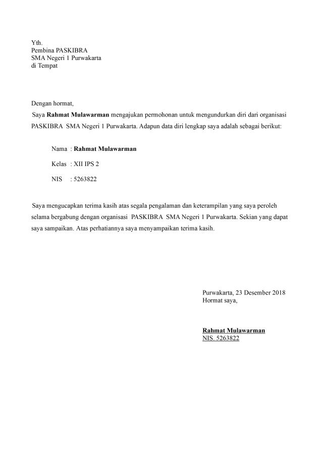 Surat Pengunduran Diri Organisasi Sekolah Paskibra Doc Word