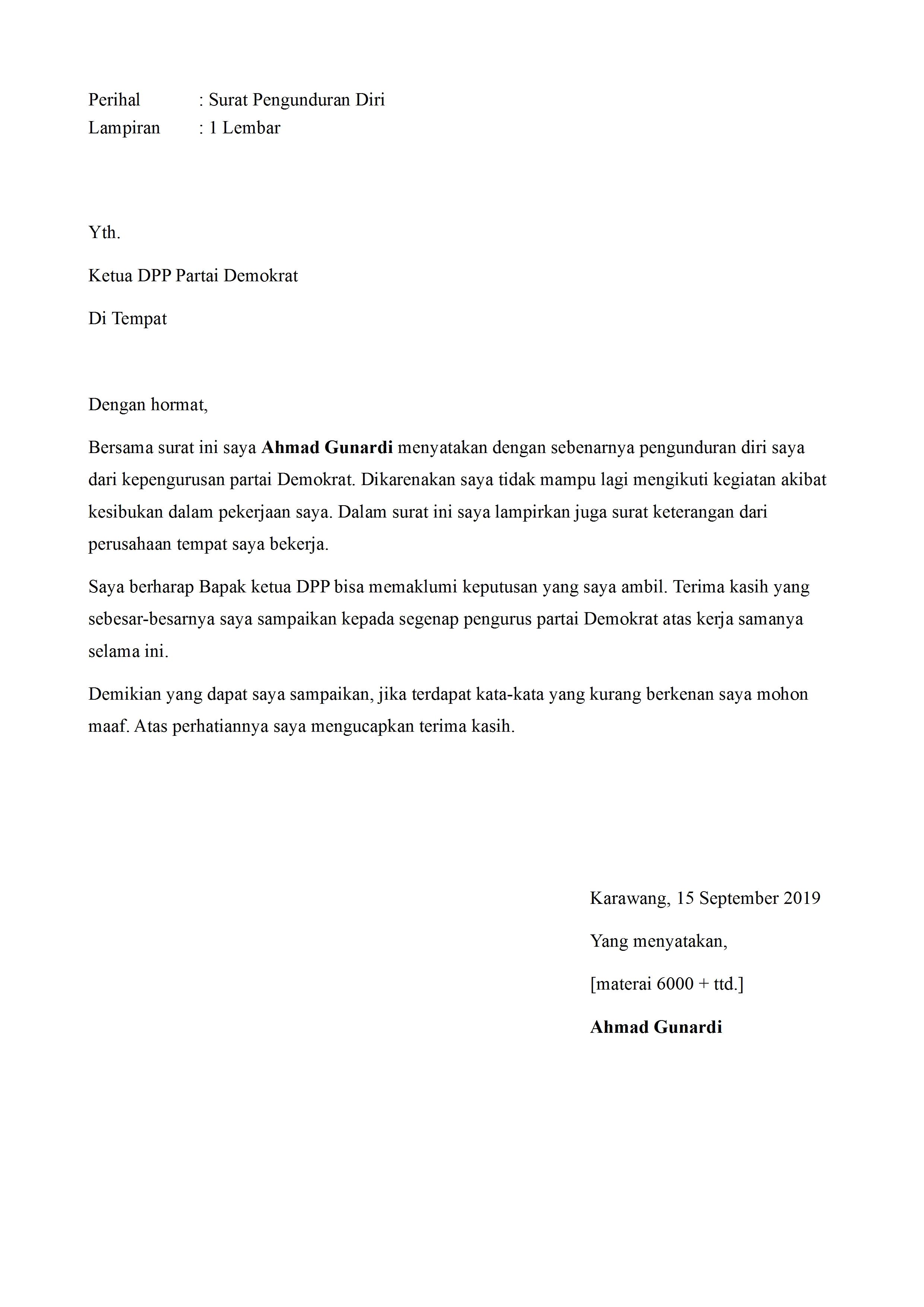 Surat Pengunduran Diri Dari Lembaga