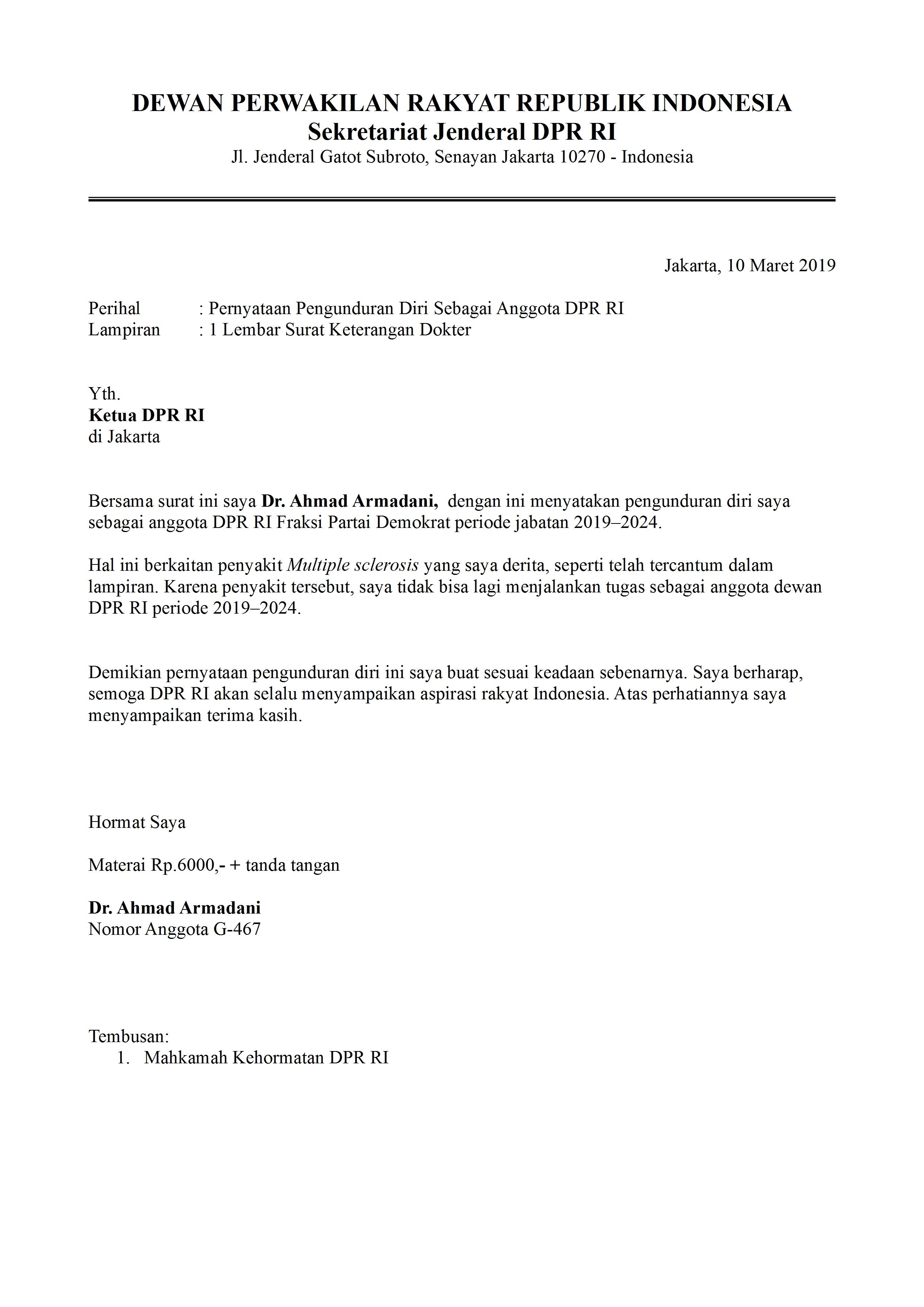 Contoh Surat Pengunduran Diri Anggota Legislatif | detikLife
