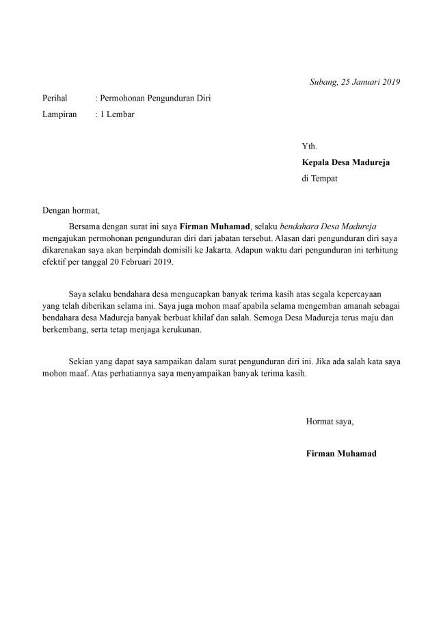 surat pengunduran diri bendahara desa
