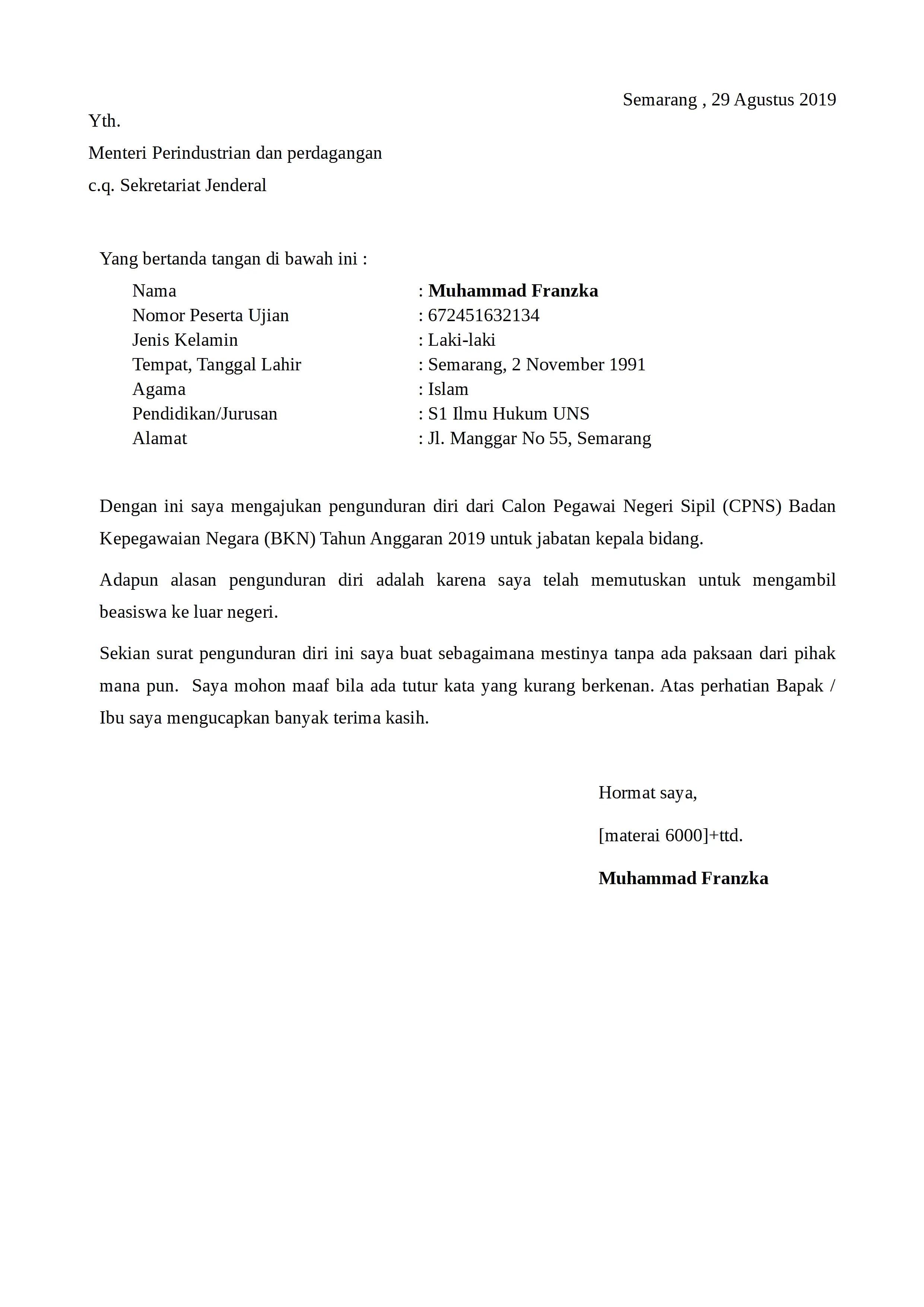 Contoh Surat Pengunduran Diri Rt Doc Download Contoh Lengkap Gratis