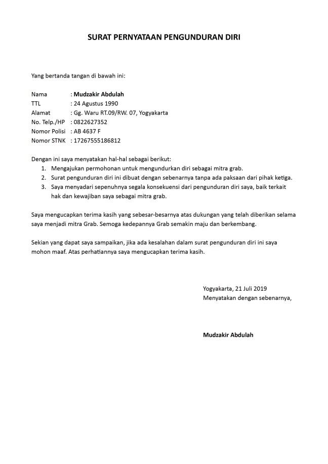 surat pengunduran diri grab