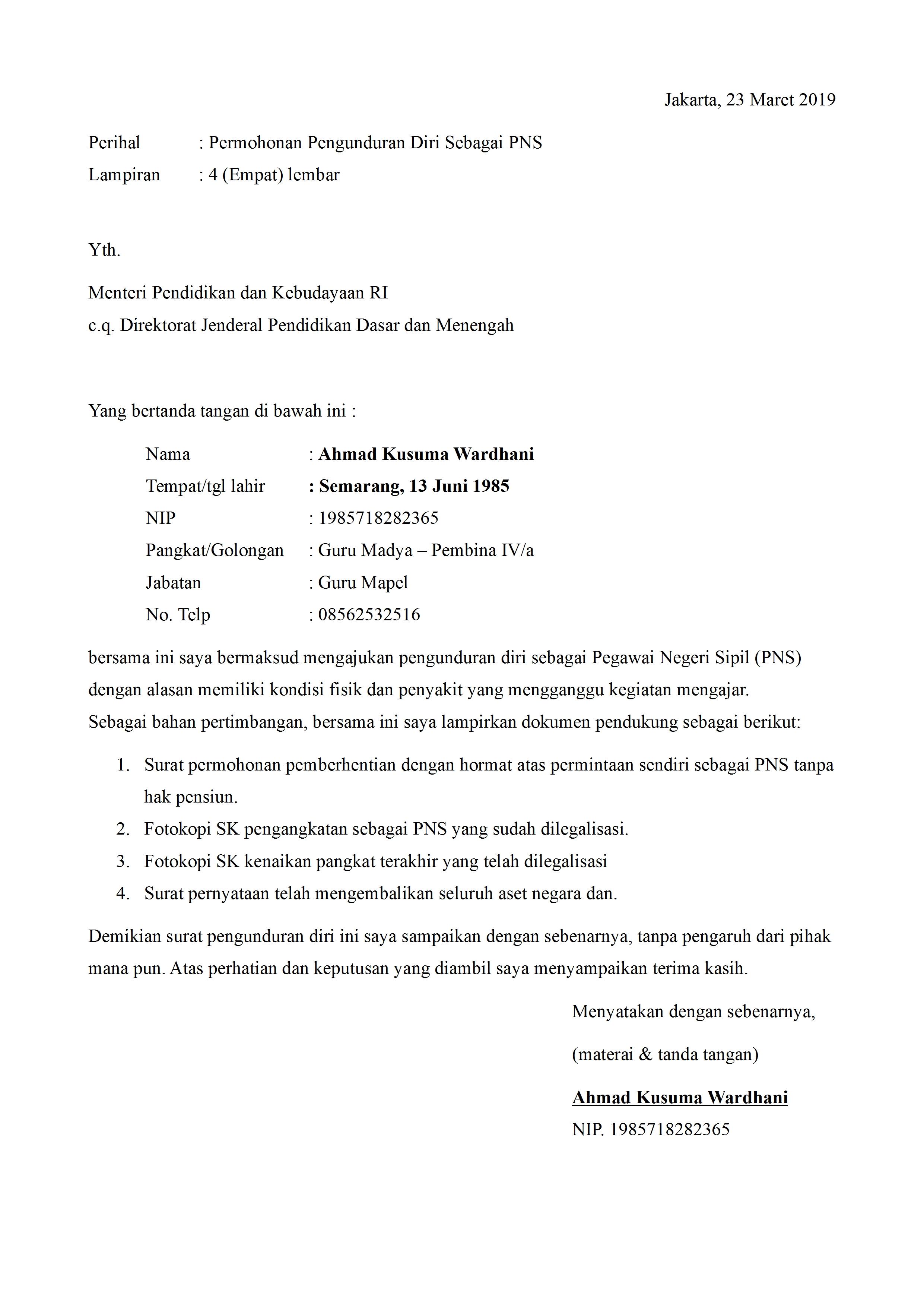 Contoh Surat Pengunduran Diri Pns Dari Jabatan Detiklife