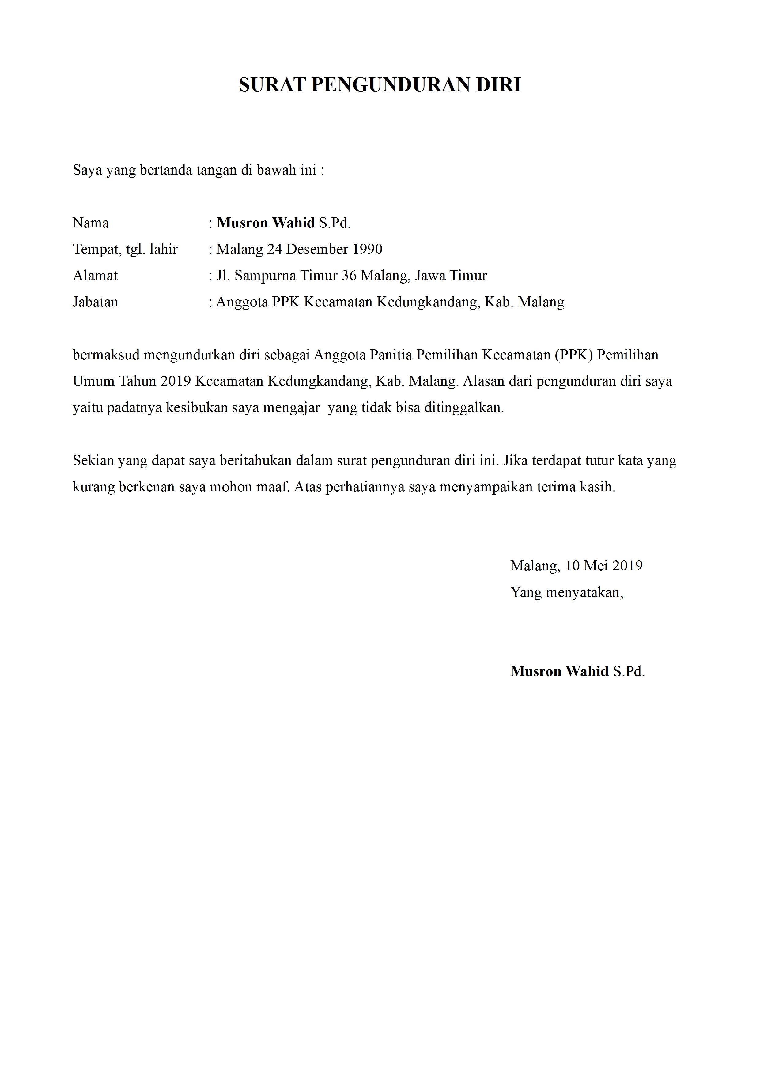 Contoh Surat Pengunduran Diri Panitia Pemilihan Umum ...